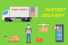 Fastest delivery concept in flat design Stock Photography