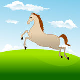 Fastest horse gallops across field. Vector illustration of fastest horse galloping across the field on background of blue sky with clouds Stock Image