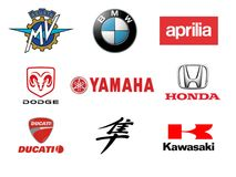 Fastest Motorcycles Brands and Logos Stock Images
