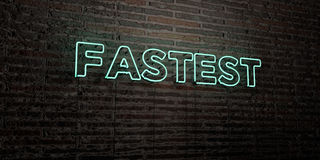 FASTEST -Realistic Neon Sign on Brick Wall background - 3D rendered royalty free stock image Royalty Free Stock Images
