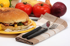 Fastfood. Hamburger with meat and vegetables Royalty Free Stock Photography