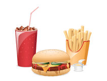 Fastfood. Classic fastfood meal with a cheeseburger, a glass of ice cola, fry potato and a sauce Stock Photography