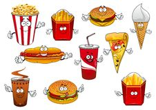 Fastfood abd takeaway cartoon characters Stock Photo