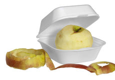 Fastfood apple. Apple in a white fastfood box isolated on white Stock Images