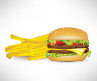 Fastfood burger and french fries Royalty Free Stock Photography