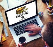 Fastfood-Burger-Kram-Mahlzeit-Mitnehmerkalorien-Konzept lizenzfreie stockfotos