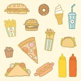 Fastfood cartoon set. Vector EPS10 hand drawn set of fastfood meals Royalty Free Stock Image