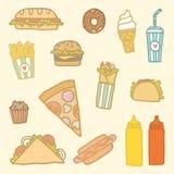 Fastfood cartoon set. Vector EPS10 hand drawn set of fastfood meals royalty free illustration