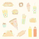 Fastfood cartoon set. Vector EPS10 hand drawn set of fastfood meals Royalty Free Stock Photography