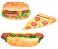 Fastfood clipart Satz, Würstchen mit Salatblättern und Ketschup, Pizzascheibe, Hamburger stock abbildung