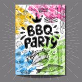 Fastfood colorful modern posters set. Poster BBQ party Barbecue elements, food, steak, sausages, meat, drinks, mustard, mushrooms tomatoes, vegetables, fire Stock Photos