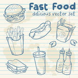 Fastfood delicious hand drawn  set Royalty Free Stock Image