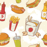 Fastfood delicious hand drawn vector seamless patt Royalty Free Stock Photos