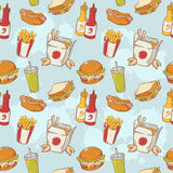 Fastfood delicious hand drawn vector seamless patt Stock Photo
