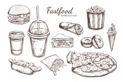 Fastfood dishes with drinks . Vector Hand drawn Isolated vector objects.   Stock Image