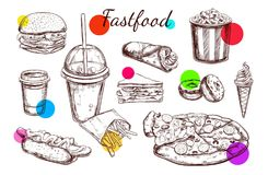 Fastfood dishes with drinks . Vector Hand drawn Isolated vector objects. Stock Photo