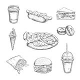 Fastfood dishes with drinks . Vector Hand drawn Isolated vector objects. Hamburger, pizza, hot dog, cheeseburger, coffee Stock Images