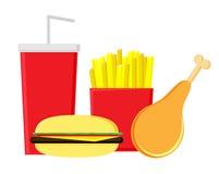 Fastfood em um fundo branco Batatas, Hamburger, pé de galinha e soda fritados Alimento inútil ilustração do vetor