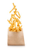Fastfood. Flying fried potatoes on white background. Fastfood. French fries. Flying fried potatoes on white background royalty free stock photos