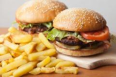 Fastfood: hamburgare och småfiskar Royaltyfri Foto