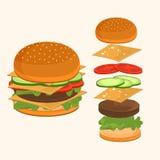 Fastfood. Hamburger ingredients vector illustration. Royalty Free Stock Images