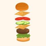 Fastfood. Hamburger ingredients vector illustration. Stock Photos
