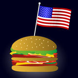 Fastfood hamburger and USA flag symbol eps10 Royalty Free Stock Image