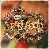 Fastfood hand lettering and doodles elements Royalty Free Stock Photos