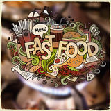 Fastfood hand lettering and doodles elements Royalty Free Stock Images