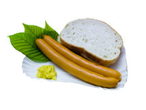 Fastfood hot dog. Fastfood menu with hot-dog, bread and mustard Stock Photography
