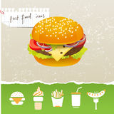 Fastfood icons Stock Images