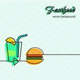 Fastfood icons background Stock Photo