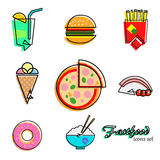 Fastfood icons set Stock Images