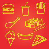 Fastfood icons set Royalty Free Stock Photos