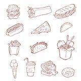 Fastfood ikony set Ręka rysująca nakreślenie ilustracja uliczny jedzenie royalty ilustracja