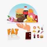 FastFood junkfood i magasin med kockhanden foo för matleveransfett vektor illustrationer