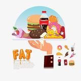 Fastfood. junkfood in tray with chef hand. food delivery fat foo Stock Images