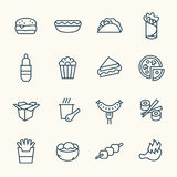 Fastfood line icon set Stock Images