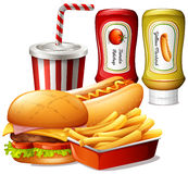 Fastfood meal with two kind of sauces. Illustration Royalty Free Stock Photography