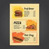 Fastfood menu karciany projekt z handrawn ilustracjami ilustracji