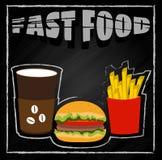 Fastfood no fundo preto Ilustração Royalty Free