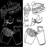 Fastfood pattern. Concept menu pattern fastfood cafe and restaurant Stock Photo