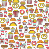 Fastfood pattern Royalty Free Stock Photography