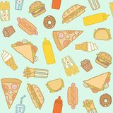 Fastfood pattern. Vector EPS10 hand drawn cartoon fastfood seamless pattern Stock Image