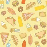 Fastfood pattern. Vector EPS 10 hand drawn seamless pattern stock illustration