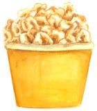 Fastfood, Popcorn im großen gelben Kasten, Handgezogenes Aquarell vektor abbildung