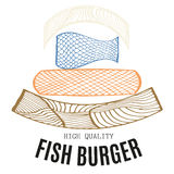 Fastfood restaurant  fish burger with zentangle. Ornament Royalty Free Stock Photography