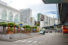 Fastfood restaurant. MOSCOW, RUSSIA - 17 JUNE 2015: Khoroshevo-Mnevniki district. Fastfood restaurant at flyover at intersection of Zhukova avenue and Narodnogo Royalty Free Stock Images