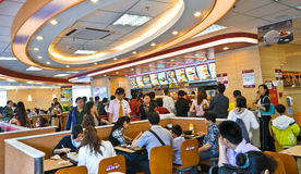 Fastfood resturant interior. CSC(Country Style Cooking Restaurant Chain ) fastfood resturant interior view.Photo is taken on 15 May 2011 royalty free stock image