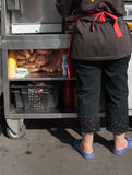 Fastfood in Russia. Selling hot cakes on the street Royalty Free Stock Image
